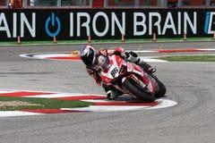 Ayrton在Ducati 1199 Panigale R队Ducati Alstare超级摩托车的Badovini #86 WSBK 免版税图库摄影