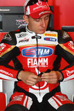 Ayrton Badovini #86 on Ducati 1199 Panigale R Team Ducati Alstare Superbike WSBK Royalty Free Stock Images