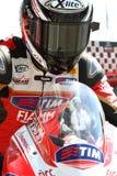 Ayrton Badovini #86 su Ducati Panigale 1199 R Team Ducati Alstare Superbike WSBK fotografie stock