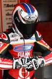 Ayrton Badovini #86 su Ducati Panigale 1199 R Team Ducati Alstare Superbike WSBK fotografia stock libera da diritti