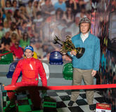 Ayrton Senna and Juan Manuel Fangio wax figure Stock Photo