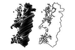 Aysen del General Carlos Ibanez del Campo regionrepublik av Chile, administrativa uppdelningar av illustrationen f?r Chile ?versi stock illustrationer