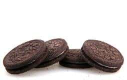 AYTOS, BULGARIA - MARCH 06, 2016: Oreo isolated on white background. Oreo is a sandwich cookie consisting of two chocolate disks with a sweet cream filling in stock images