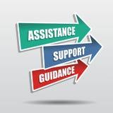 Ayuda, ayuda, dirección en flechas, diseño plano Imagen de archivo