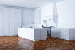 Ayuda blanca clásica de la cocina e interior blanco con el entarimado de madera Fotos de archivo libres de regalías