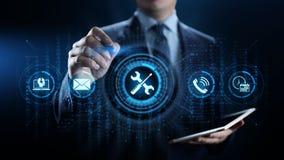 Ayuda 24 concepto de la tecnología del negocio de la garantía de calidad de 7 servicios de atención al cliente foto de archivo