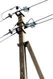 Ayuda concreta de la línea eléctrica aislada en blanco Fotografía de archivo libre de regalías
