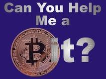 Ayuda de Bitcoin Foto de archivo libre de regalías