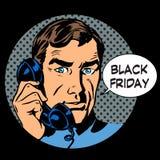 Ayuda de Black Friday por el teléfono Imagen de archivo libre de regalías