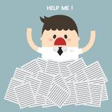 Ayuda de la necesidad del hombre de negocios debajo de mucho Libro Blanco ilustración del vector