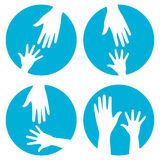 Ayuda de las manos - conjunto del icono stock de ilustración