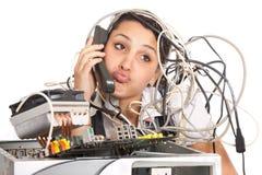 Ayuda de ordenador de la mujer Foto de archivo