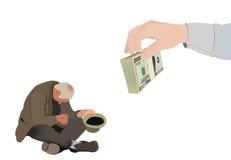 Ayuda del mendigo stock de ilustración