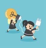 Ayuda del trabajo en equipo de los conceptos de las historietas de la mujer de negocios Imagenes de archivo