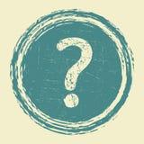 Ayuda, etiqueta engomada del grunge de la pregunta Fotos de archivo