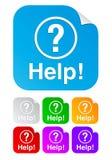 Ayuda, etiquetas engomadas cuadradas Imagen de archivo libre de regalías