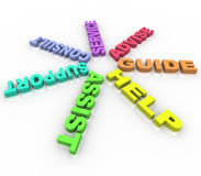 Ayuda - palabras coloreadas en un círculo Imágenes de archivo libres de regalías
