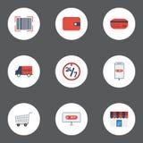 Ayuda plana de los iconos, compra, Qr y otros elementos del vector Sistema de iconos planos que hacen compras Imagen de archivo