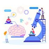 Ayuda psicológica profesional, investigación, análisis, examen stock de ilustración