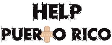 Ayuda Puerto Rico Text 4 imagen de archivo