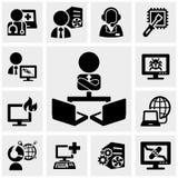 Ayuda, trabajando en los iconos del ordenador fijados en gris stock de ilustración