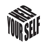 Ayuda usted mismo Camiseta simple del lema del texto Vector gr?fico de las frases para el cartel, la etiqueta engomada, la impres libre illustration