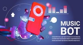 Ayuda virtual del robot de la música del Bot de la charla del sitio web o de las aplicaciones móviles, concepto de la inteligenci Foto de archivo libre de regalías