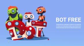 Ayuda virtual del robot libre del Bot de la charla del sitio web o de las aplicaciones móviles, concepto de la inteligencia artif Fotografía de archivo libre de regalías