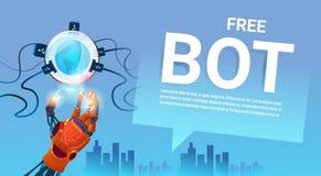 Ayuda virtual del robot libre del Bot de la charla del sitio web o de las aplicaciones móviles, concepto de la inteligencia artif Imágenes de archivo libres de regalías