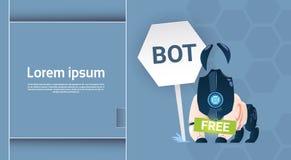 Ayuda virtual del robot libre del Bot de la charla del sitio web o de las aplicaciones móviles, concepto de la inteligencia artif Imagen de archivo libre de regalías