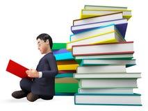 Ayuda y universidad del FAQ de Reading Books Represents del hombre de negocios Foto de archivo libre de regalías