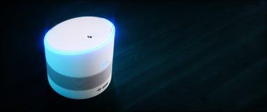 Ayudante activado por voz inteligente casero concepto de la representación 3D de recogn futurista de alta tecnología blanco del d ilustración del vector