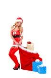 Ayudante atractivo de la Navidad Fotografía de archivo