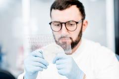 Ayudante de laboratorio que trabaja con las bacterias fotos de archivo
