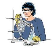 Ayudante de laboratorio que trabaja en laboratorio médico o químico científico Bosquejo del científico de la mujer con los tubos  ilustración del vector