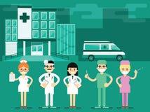 Ayudantes de sanidad en el fondo del hospital, vector Foto de archivo libre de regalías