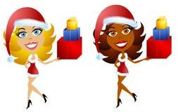 Ayudantes femeninos 3 de la Navidad de Santa stock de ilustración