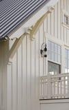Ayudas de madera asociadas a los aleros de la azotea Fotografía de archivo