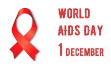 Ayudas rojas de la cinta de la conciencia en el fondo blanco, VIH, ejemplo del vector Imagen de archivo
