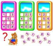 Ayude al oso a reparar los teléfonos móviles Encuentre los números que falta y escríbalos en los lugares correctos Foto de archivo
