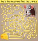 Ayude al ratón a encontrar el queso ilustración del vector