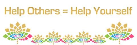 Ayude a otros para ayudar usted mismo a horizontal floral colorido stock de ilustración