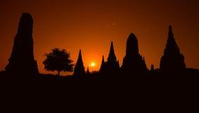 Ayudhaya old temple of Thailand at dawn Royalty Free Stock Images