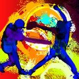 Ayuna la pintura de las siluetas de los jugadores de beísbol con pelota blanda de la echada Imagen de archivo