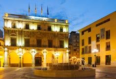 Ayuntamiento Castellon de Λα Plana στη νύχτα Στοκ Φωτογραφία