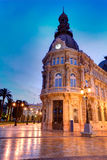 Ayuntamiento de Cartagena Murciacity hall Spain. Ayuntamiento de Cartagena sunset city hall at Murcia Spain Royalty Free Stock Images