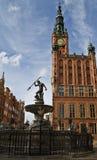 Ayuntamiento de Gdansk y Neptuno Fotos de archivo libres de regalías
