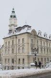 Ayuntamiento de Gyor en invierno Fotos de archivo