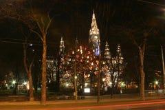 Ayuntamiento de Viena en la noche, tiempo de la Navidad fotografía de archivo