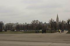 Ayuntamiento de Viena y casa del parlamento del complejo de Hofburg imagen de archivo libre de regalías
